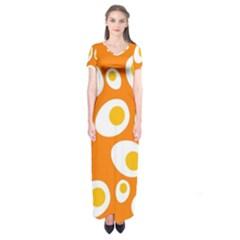 Orange Circle Egg Short Sleeve Maxi Dress
