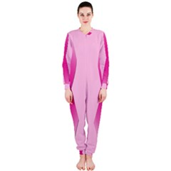 Pink Breast Cancer Symptoms Sign OnePiece Jumpsuit (Ladies)