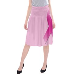 Pink Breast Cancer Symptoms Sign Midi Beach Skirt