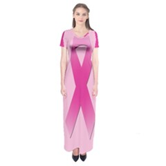 Pink Breast Cancer Symptoms Sign Short Sleeve Maxi Dress