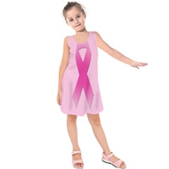 Pink Breast Cancer Symptoms Sign Kids  Sleeveless Dress