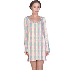Rabbit Eggs Animals Pink Yellow White Rd Blue Long Sleeve Nightdress