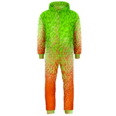 Plaid Green Orange White Circle Hooded Jumpsuit (Men)
