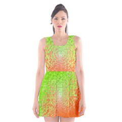 Plaid Green Orange White Circle Scoop Neck Skater Dress
