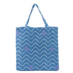 Springtime Wave Blue White Purple Floral Flower Grocery Tote Bag