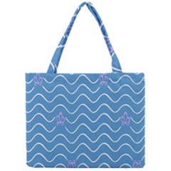 Springtime Wave Blue White Purple Floral Flower Mini Tote Bag