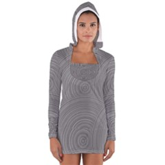 Circular Brushed Metal Bump Grey Women s Long Sleeve Hooded T-shirt