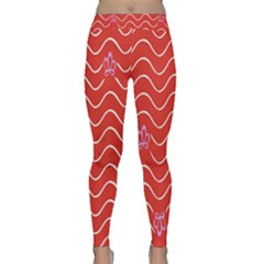 Springtime Wave Red Floral Flower Classic Yoga Leggings