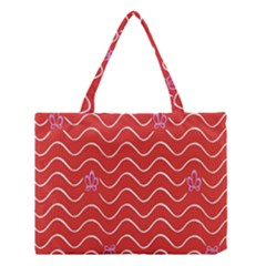 Springtime Wave Red Floral Flower Medium Tote Bag