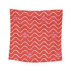 Springtime Wave Red Floral Flower Square Tapestry (small)