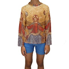 Gold Jesus Kids  Long Sleeve Swimwear
