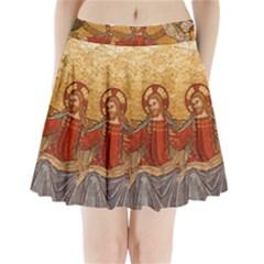 Gold Jesus Pleated Mini Skirt