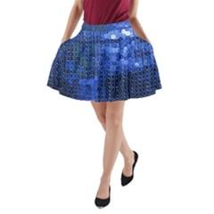 Blue Sequins A-Line Pocket Skirt