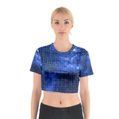 Blue Sequins Cotton Crop Top