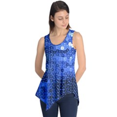 Blue Sequins Sleeveless Tunic