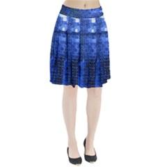 Blue Sequins Pleated Skirt