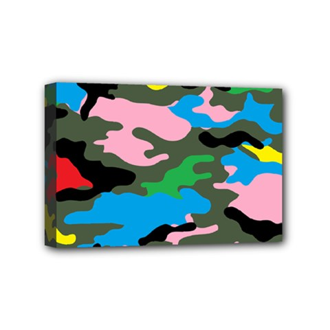 Rainbow Camouflage Mini Canvas 6  x 4