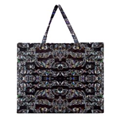 Black Diamonds Zipper Large Tote Bag