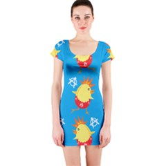 Easter Chick Short Sleeve Bodycon Dress