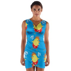 Easter Chick Wrap Front Bodycon Dress