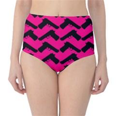 Pink Gun High-Waist Bikini Bottoms