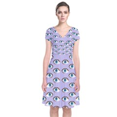 Purple Eyeballs Short Sleeve Front Wrap Dress