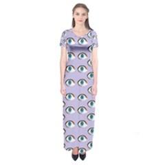 Purple Eyeballs Short Sleeve Maxi Dress