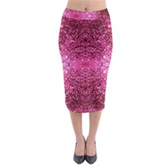 Pink Glitter Midi Pencil Skirt