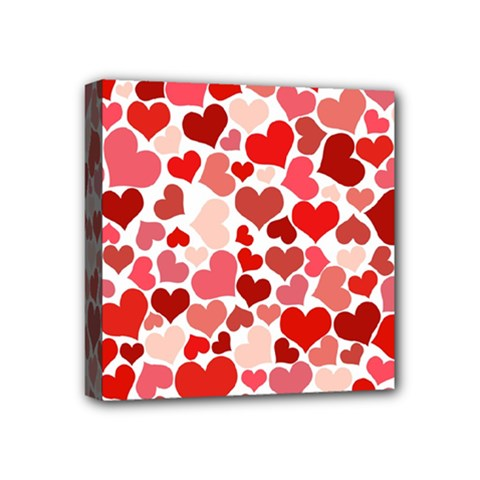 Red Hearts Mini Canvas 4  x 4