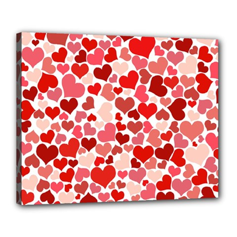 Red Hearts Canvas 20  x 16