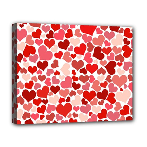 Red Hearts Deluxe Canvas 20  X 16