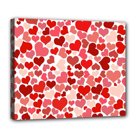Red Hearts Deluxe Canvas 24  X 20