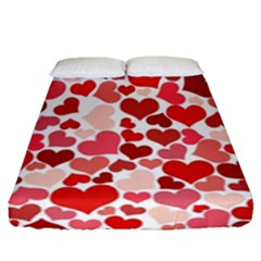 Red Hearts Fitted Sheet (queen Size)
