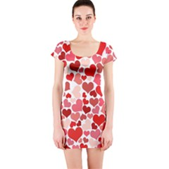 Red Hearts Short Sleeve Bodycon Dress