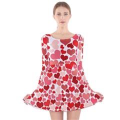 Red Hearts Long Sleeve Velvet Skater Dress
