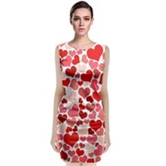 Red Hearts Classic Sleeveless Midi Dress