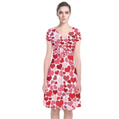 Red Hearts Short Sleeve Front Wrap Dress