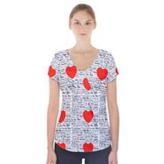 I Love You Short Sleeve Front Detail Top