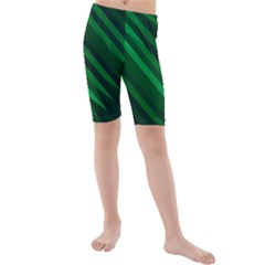 Abstract Blue Stripe Pattern Background Kids  Mid Length Swim Shorts