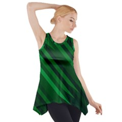 Abstract Blue Stripe Pattern Background Side Drop Tank Tunic