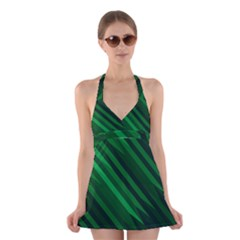 Abstract Blue Stripe Pattern Background Halter Swimsuit Dress