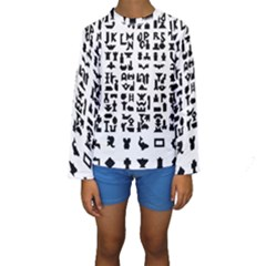Anchor Puzzle Booklet Pages All Black Kids  Long Sleeve Swimwear