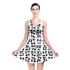 Anchor Puzzle Booklet Pages All Black Reversible Skater Dress
