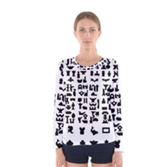 Anchor Puzzle Booklet Pages All Black Women s Long Sleeve Tee