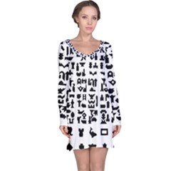 Anchor Puzzle Booklet Pages All Black Long Sleeve Nightdress