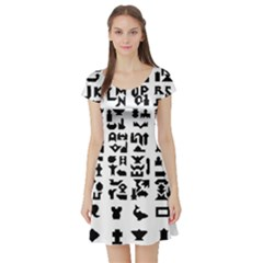 Anchor Puzzle Booklet Pages All Black Short Sleeve Skater Dress