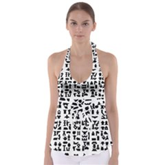Anchor Puzzle Booklet Pages All Black Babydoll Tankini Top