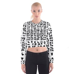 Anchor Puzzle Booklet Pages All Black Women s Cropped Sweatshirt