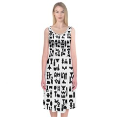 Anchor Puzzle Booklet Pages All Black Midi Sleeveless Dress