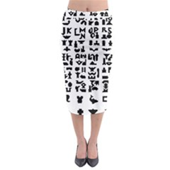 Anchor Puzzle Booklet Pages All Black Midi Pencil Skirt